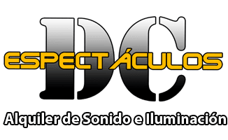 Logotipo Espectáculos DC, empresa de alquiler de equipos de sonido e iluminación